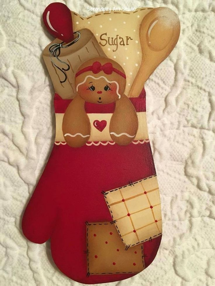 HP GINGERBREAD Red OVEN MITT FRIDGE MAGNET HAND PAINTED #Unbranded