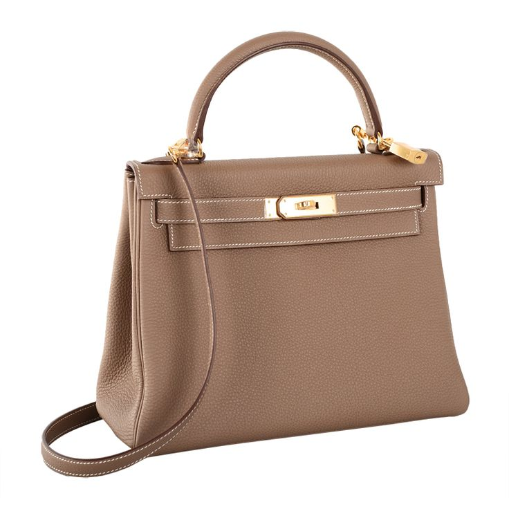 Hermes Kelly Bag Etoupe 28Cm Togo Gold Hardware Stunning Combo! | From a collection of rare vintage top handle bags at https://www.1stdibs.com/fashion/handbags-purses-bags/top-handle-bags/