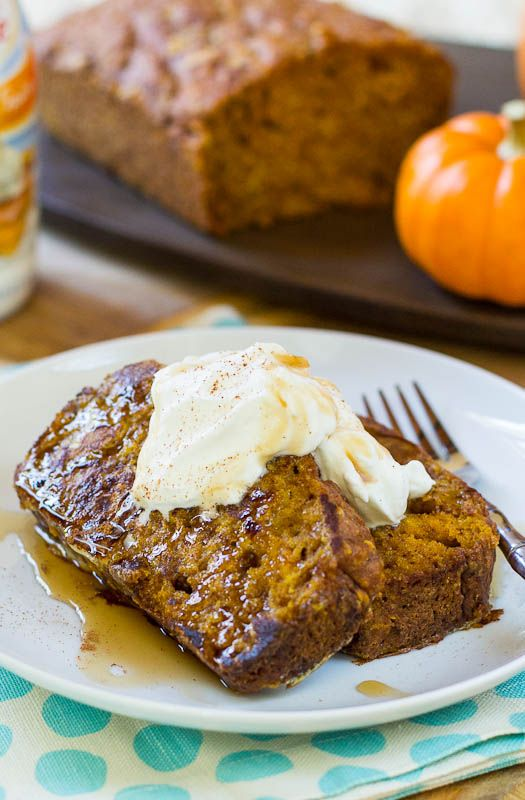 Pumpkin Bread French Toast- turn your leftover pumpkin bread into french toast!