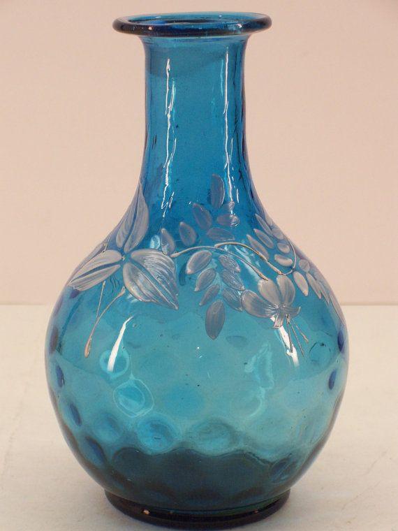 Vintage Blown Glass Decanter Diamond Optic Colonial Blue