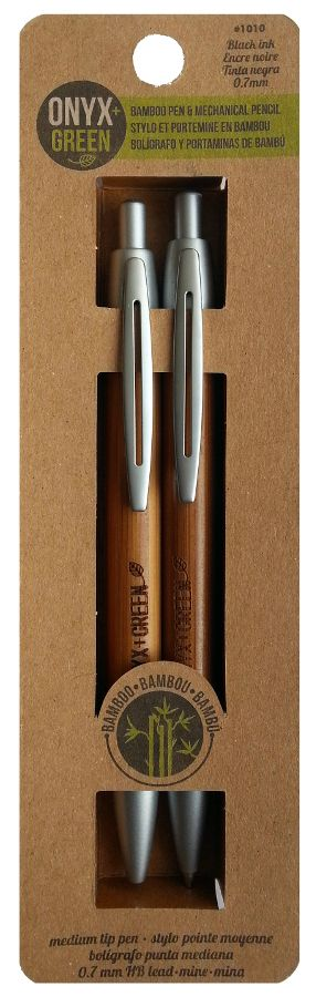 Bamboo Pen & Mechanical Pencil Set - Black Ink/0.7mm Lead - Onyx & Green