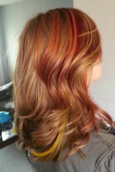 Sunrise streaks, red pink orange yellow highlights | Hair ...