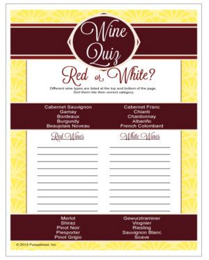 Wine Quiz - can you sort your wine varietals into red or white? Printable wine party game.