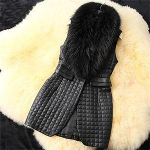 Женщин Новый Элегантная Мода Тонкий Обычный Кожаный Жилет Сплошной Узор Из Искусственного Меха Без Рукавов Женщин Зимний Жилет Черного Цвета