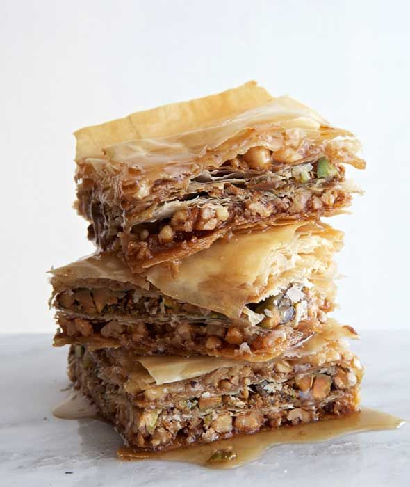Vegan Baklava Recipe - uses agave syrup.  Uses three nuts and can substitute honey.