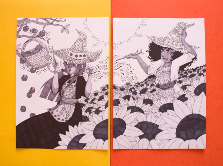 Illustrations originales réalisées au feutre à alcool avec différentes teintes de gris et du noir.  Ces deux illustration ont été créées à l'occasion du challenge Inktober de 2017. Le prix correspond aux deux dessin ensembles.  Format A5 : 14,8 x 21cm Papier épais de 180g.