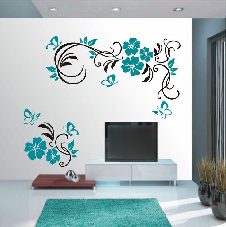 Popular Details zu WANDTATTOO Wandaufkleber Wandsticker farbig Blumen Ranke Wohnzimmer Flur WT