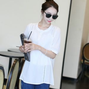 Republic of Korea reigning Women's Clothing Store [CANMART] Foy lace blouse / Size : FREE / Price : 37.41USD #blouse #whiteblouse#korea #fashion #style #fashionshop #apperal #koreashop #missy #canmart