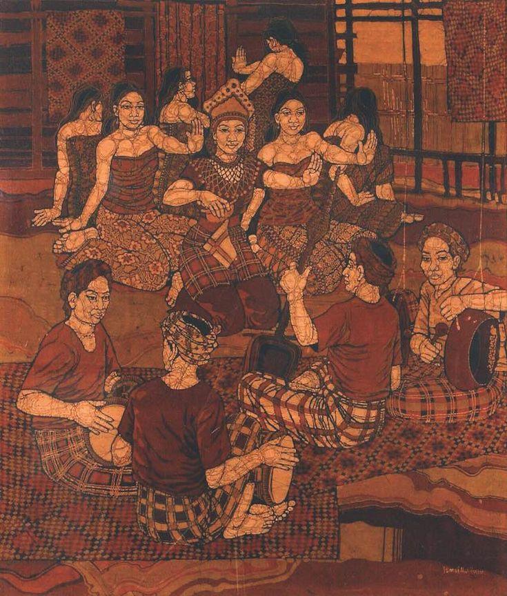 Ismail Mat Hussin, A Mak Yong Performance, Batik, 1979 #ILHAM Kuala Lumpur