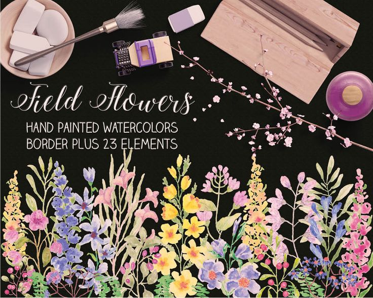 Watercolor border plus individual elements: 'Field Flowers'; hand painted; wedding clip art; weddings; instant download by LollysLaneShoppe on Etsy