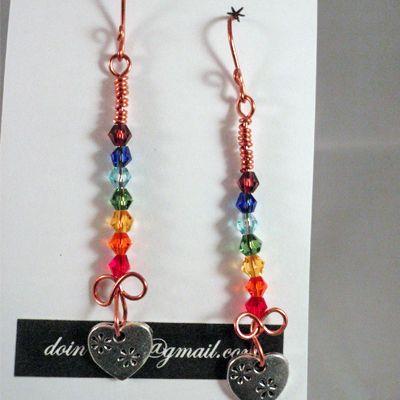 doinWire handcrafted copper wire Earrings handmade copper ear-wires, Swarovski…
