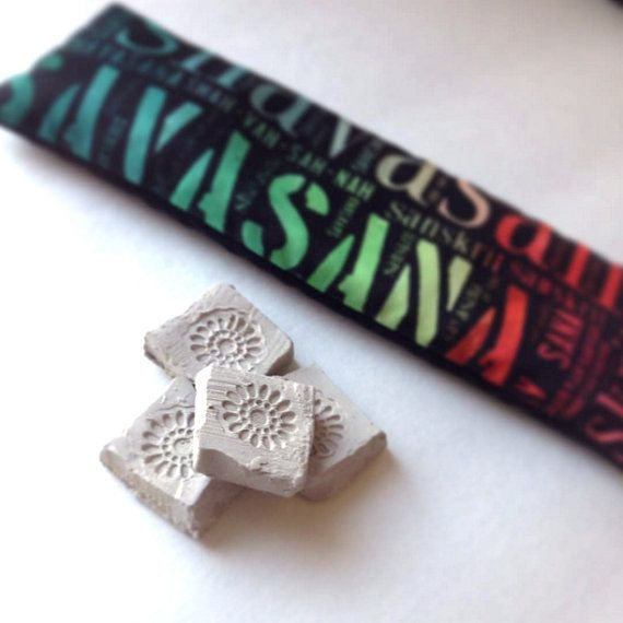 Each yoga eye pillow ships with one infusion stone designed to diffuse aromatherapy in custom combinations and concentrations.