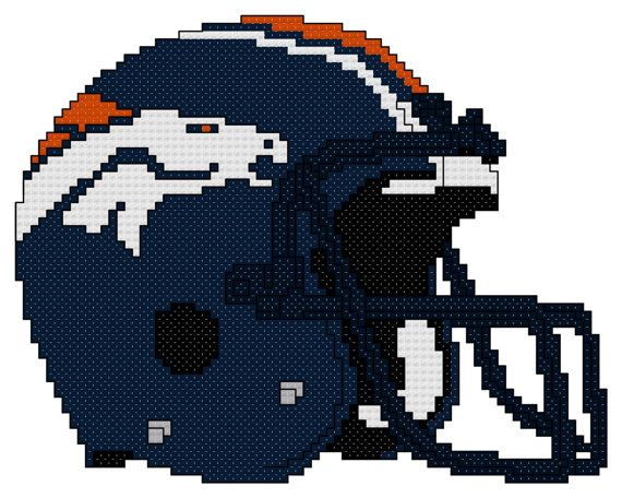 Counted Cross Stitch Pattern, Denver Broncos Helmet, Instant Download, PDF Pattern, Hand Designed by Dreamy Memories