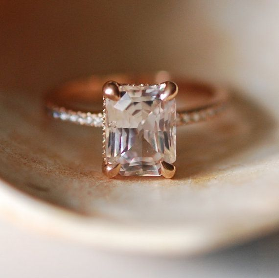 Blake Lively Engagement ring inspired creation of this Sapphire ring.  Absolutely amazing ring! It features a natural non-treated White sapphire -