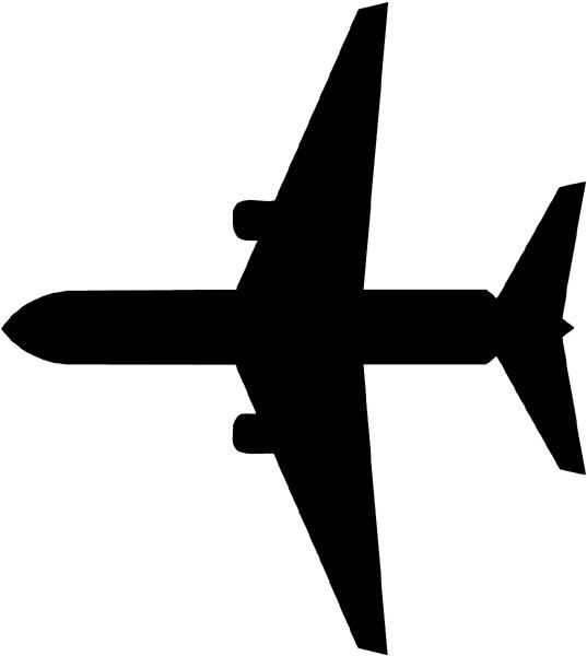 Bottom Of Large Plane Silhouette Vinyl Sticker Customize
