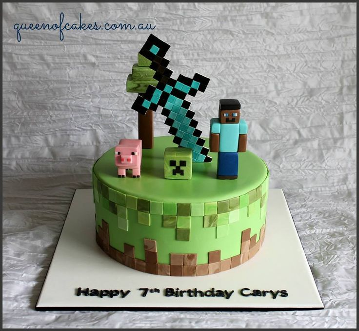 Awesome Minecraft birthday cake topped with steve, creeper a pig and the iconix sword. cool. Made by Queen of Cakes - Perth