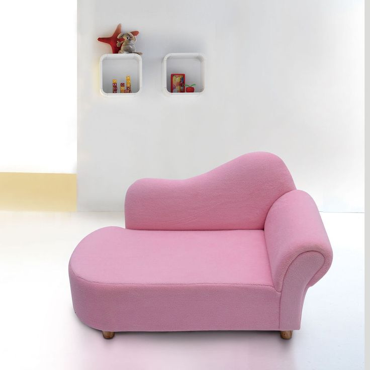 Kids sofa girls pink armchair children velvet chaise for Baby chaise lounge