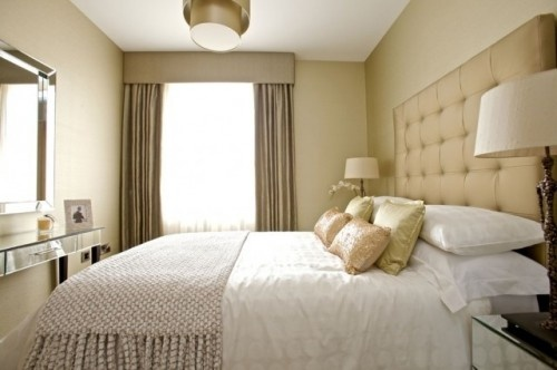 Like this. Looks like my narrow master bedroom. Hmm...could work.
