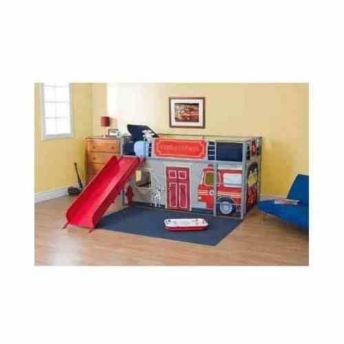 twin loft bed w  slide firefighter fire truck ladder boys Pink Girl Bedroom Bedroom Furniture