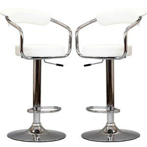 Modern Contemporary Bar Stools:  These stools are not only adjustable but they are pieces that scream for attention. They could almost blend in completely to a room. This stool will compliment any room and give it an air of modern elegance. Due to the design you have the option of adding a cushion to it as well depending on the look you are going after. It's middle to high end so adding extra stools wouldn't break the bank too much.