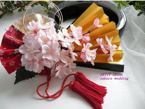 金扇子ブーケ・桜の和装ブーケ