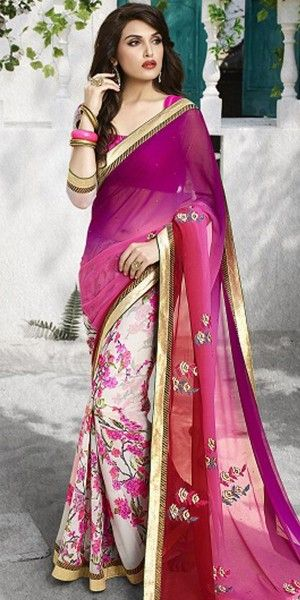 Ethnic Purple And Off-White Georgette Saree With Blouse.