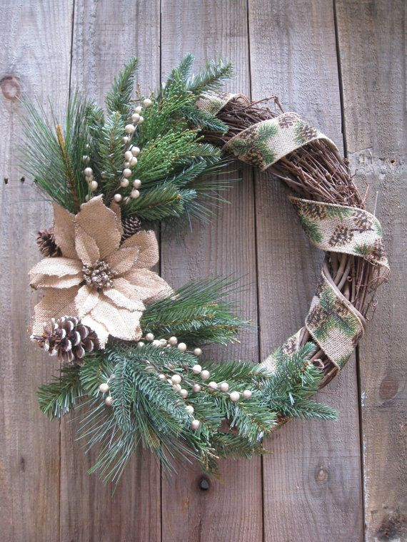Rustic Evergreen and Burlap Christmas Wreath by ItsEssential
