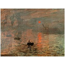 @Overstock.com - Monet 'Impression Sunrise' Canvas Wall Art (China) - This wall art is a reproduction of a Monet's famous 'Impression Sunrise', said to be the origin of the name of the impressionist movement. The canvas print will make a lovely decorative addition to any room in your home or office.     http://www.overstock.com/Worldstock-Fair-Trade/Monet-Impression-Sunrise-Canvas-Wall-Art-China/5079561/product.html?CID=214117  $28.00