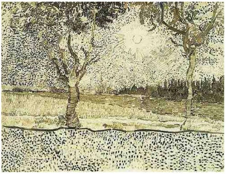 Road to Tarascon, The by Vincent Van Gogh  Drawing, Pen, reed pen Arles: July 31 - August 6, 1888