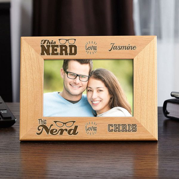 Nerd Love Personalized Wood Picture Frame ($30) ❤ liked on Polyvore featuring home, home decor, frames, personalized wood frames, personalized frames, wood picture frames, personalized engraved picture frames and wooden picture frames