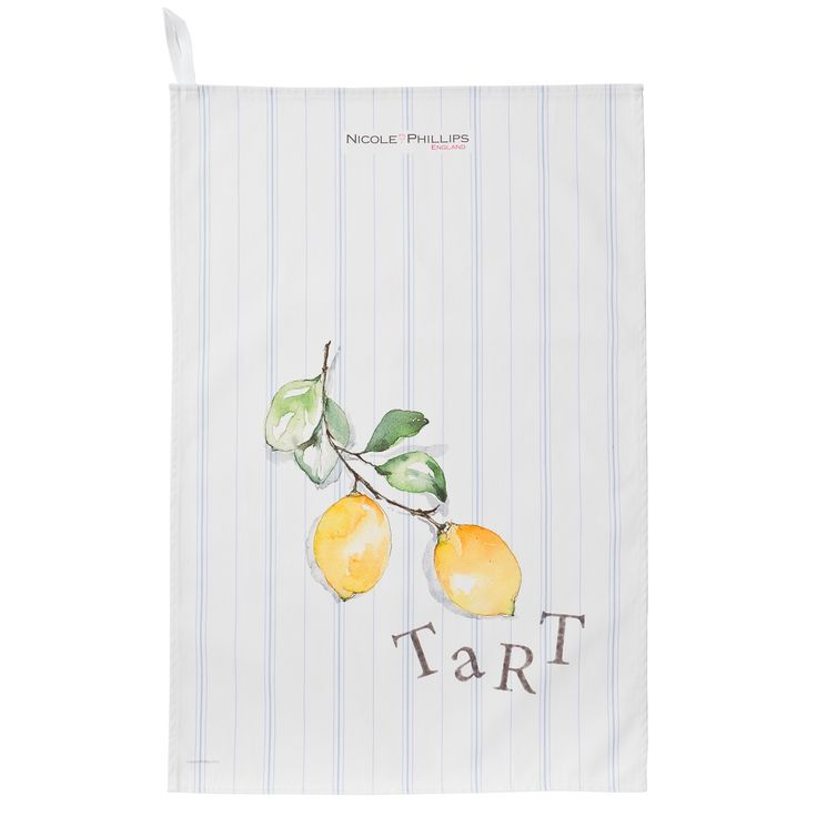 Nicole Phillips England artisan Lemon Tart Tea Towel. Nicole Phillips designs and makes beautiful fine textile ranges that add accents of creativity and colour for your home and kitchen. Designed and made in England to the highest print and quality standards.  http://www.nicolephillips.com/collections/tea-towels/products/lemon-tart-tea-towel #puddings