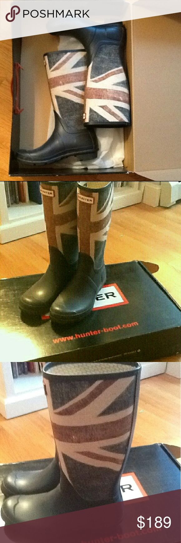 Hunter Boots RARE Worn once ON SALE Rare Hunter boots in like new condition, worn once size is 6 kids but equates to 7.5 women. Not many people have these at all. Worn once for 1 hour. RARE Flag Hunter Union Jack British style Hunter Boots  MAKE OFFERS Hunter Boots Shoes Winter & Rain Boots