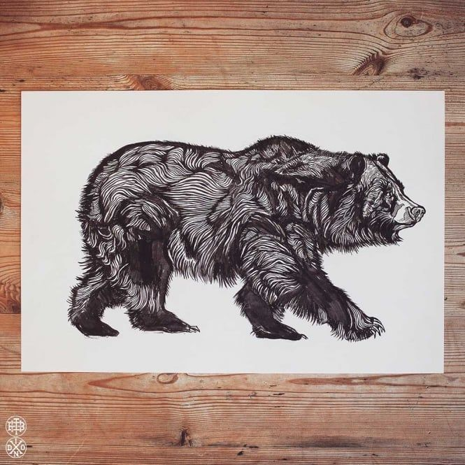 LUKE DIXON - WALKING BEAR - ORIGINAL ARTWORK - Ink Drawing