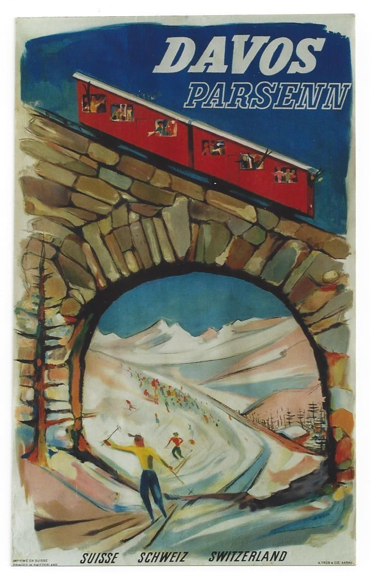 Original vintage poster DAVOS PARSENN SKI CABLE CAR 1952 | eBay