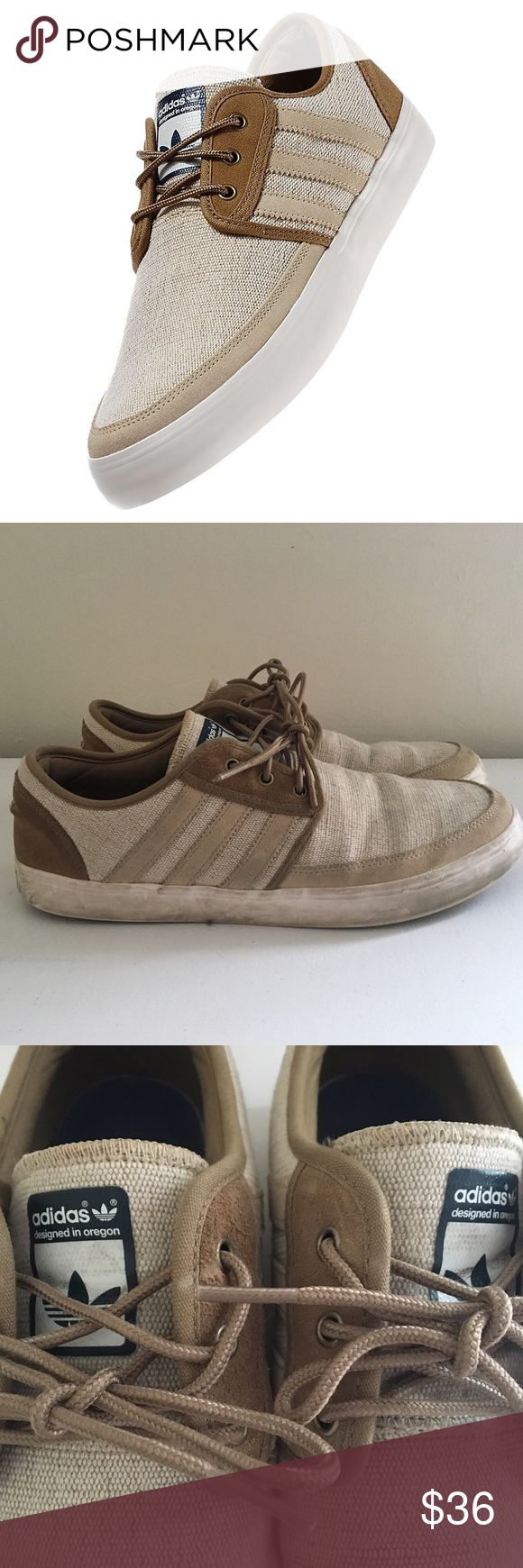 Men's Adidas Seeley Boat Shoes Adidas Seeley Men's boat shoes. Natural jute raw canvas upper. Tonal contrast suede overlays and binding. Vulcanized rubber outsole. Gently used and still a lot of life left! Adidas Shoes Boat Shoes