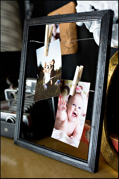 DIY {wire frames} »use  a larger frame and smaller clothes pins to hang all the pics I get at christmas
