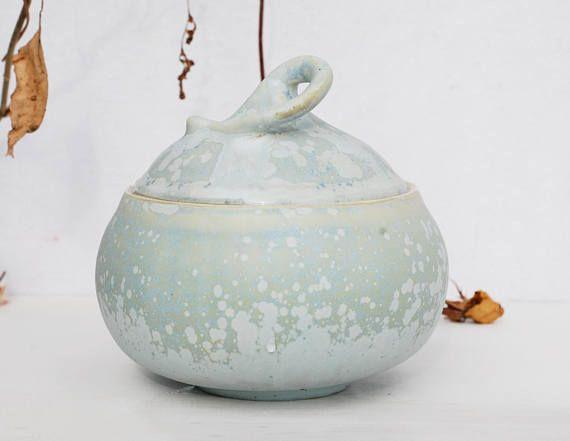 Blue porcelain sugar bowl mat glass crystalline pottery
