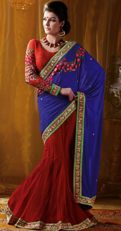 USD 77.82 Blue Georgette Embroidery Party Wear Saree 42809