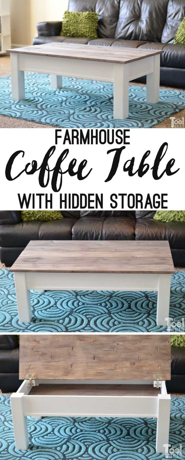 Simple farmhouse style coffee table with weathered wood top. This coffee table has a hidden gem, flip open the top for lots of storage space. Free plans