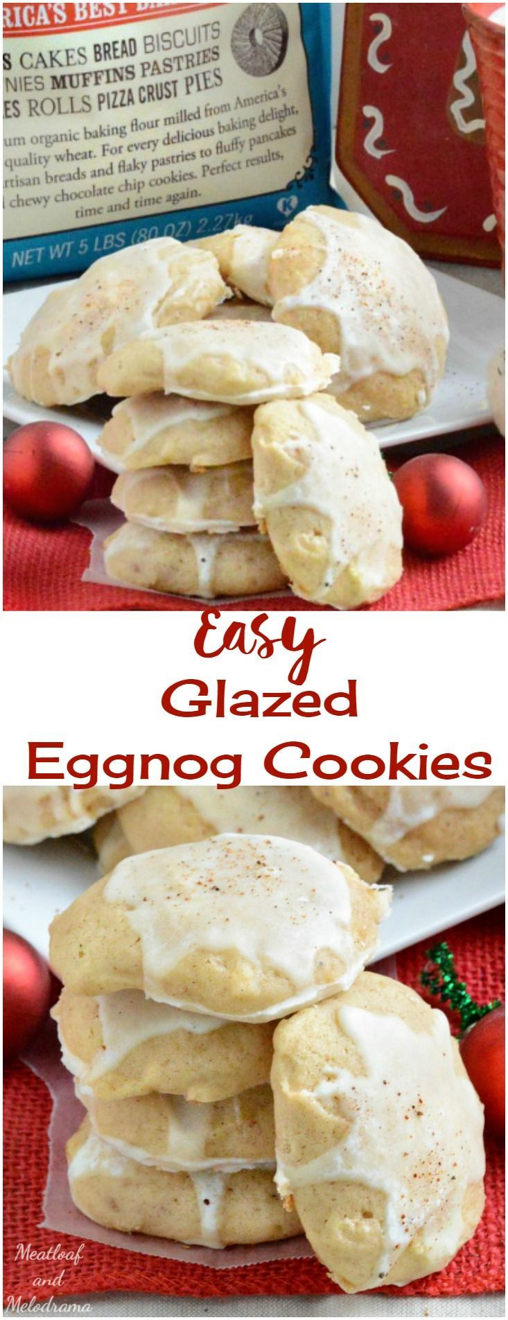 Easy Glazed Eggnog Cookies - Soft, chewy, fluffy cookies to add to your holiday baking list. Perfect for Christmas or any winter holiday. AD #BobsHolidayCheer @Bob's Red Mill