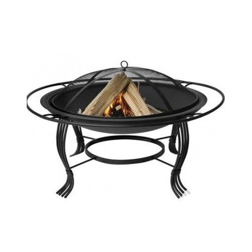 Uniflame 36.6 Inch Black Porcelain Bowl and Iron Stand Firepit Fireplace Garden  #Uniflame