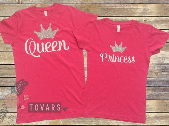 Queen and Princess Mommy and Me Outfit Hot pink shirts by Tovars