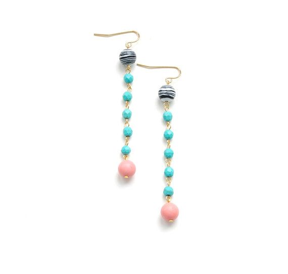 Pink coral faceted turquoise black and white by elfinadesign