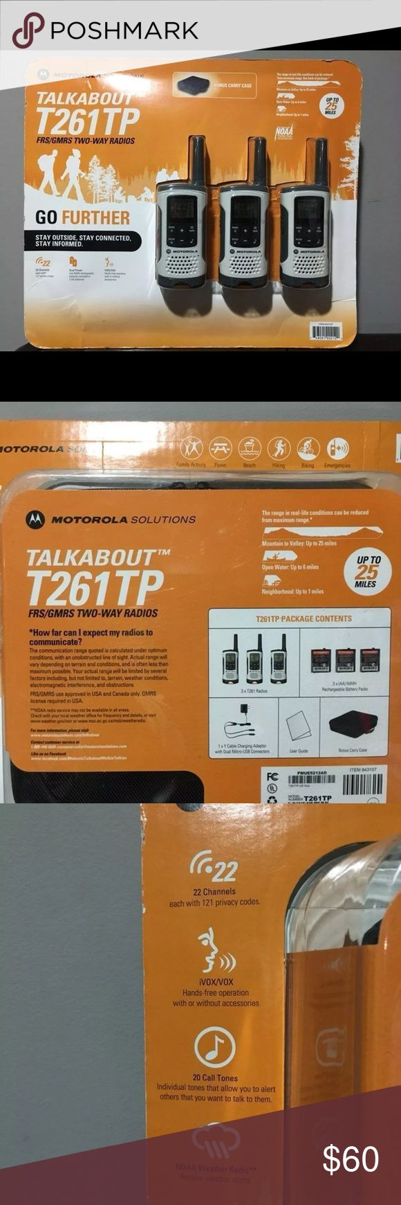 Motorola Talkabout T261TP Two-way Radio Brand new, still in box, never opened. Set of 3 white radios, lightweight, compact and durable radio comes packed with essential features.  * Range up to 25 miles. * 11 Weather Channels (7 NOAA) with alert feature * 22 channels and 121 privacy codes, totaling 2,662 combinations * iVOX/VOX acting like a speakerphone and allowing hands-free communication * Rechargeable NiMH batteries Motorola Other