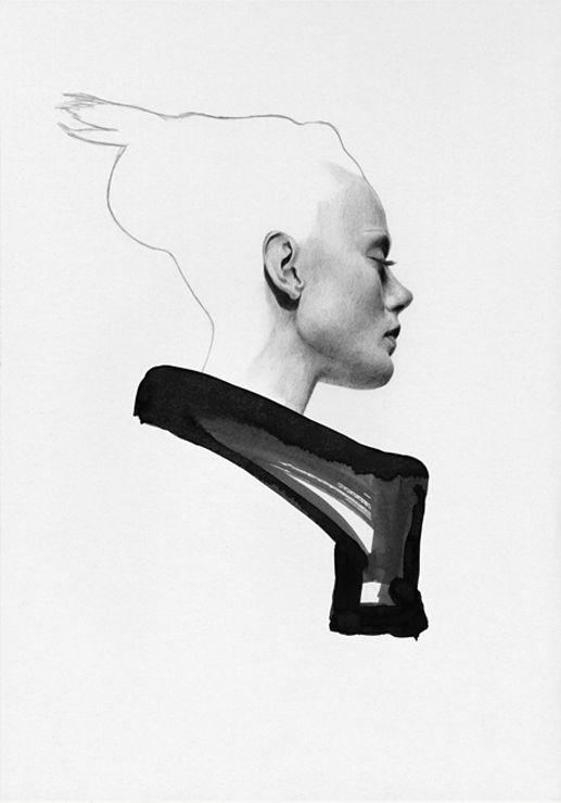 Contemporary fashion illustration, Rick Owens fashion drawing // Richard Kilroy