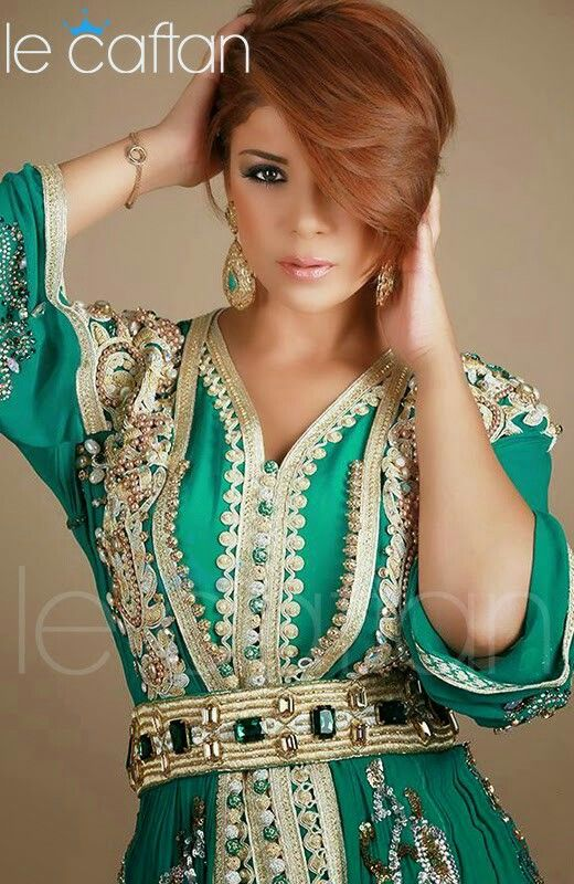 Leila hadioui caftan  i love green caftans  and moroccan gold n green accessories ♡♡♡♡