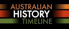 The Australian History Timeline features over 150 film clips outlining Australia's history from pre 1770 to contemporary history. Looking more closely at a decade presents you with information presented in film clips and related websites on events that occurred during that decade.There is also a World Events section highlighting what big world events were happening during the same period.