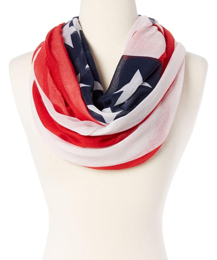 Blue & Red Americana Flag Infinity Scarf