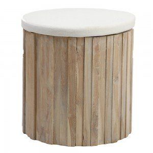 Pepper Wood Stool Trunk with Cushion