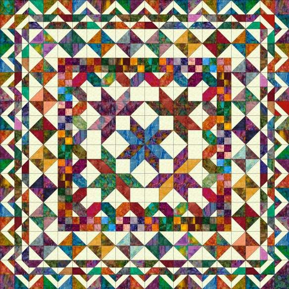 "Minnesota Homewarming quilt image - beautiful scrappy nickel quilt by pat speth 80""x80"""